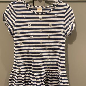 Girls stripped heart dress! Navy and white. Silver hearts!